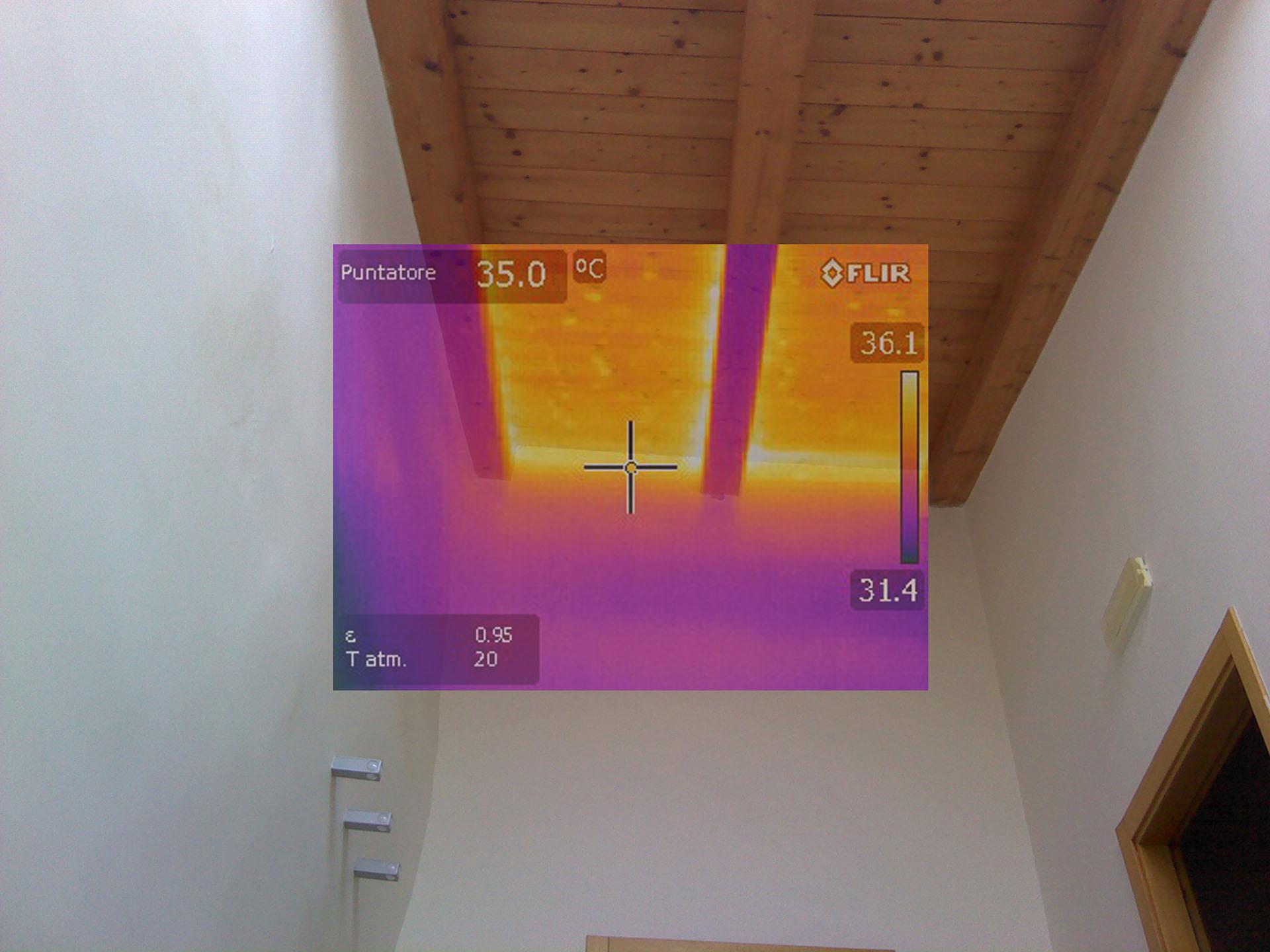 Termografia durante una perizia per il controllo della risalita capillare e la coibentazione di una copertura