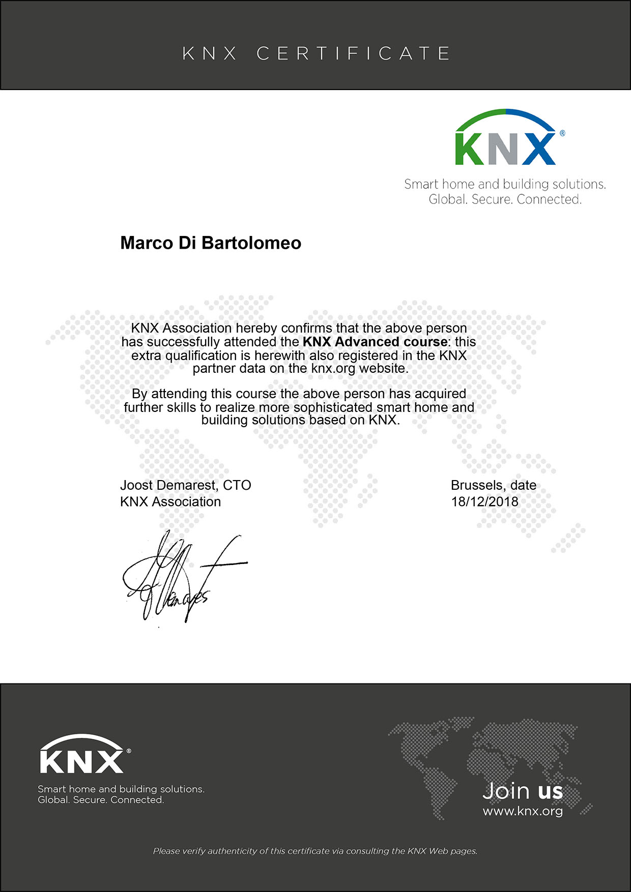 certificato domotica knx konnex advanced avanzato campania provincia salerno napoli