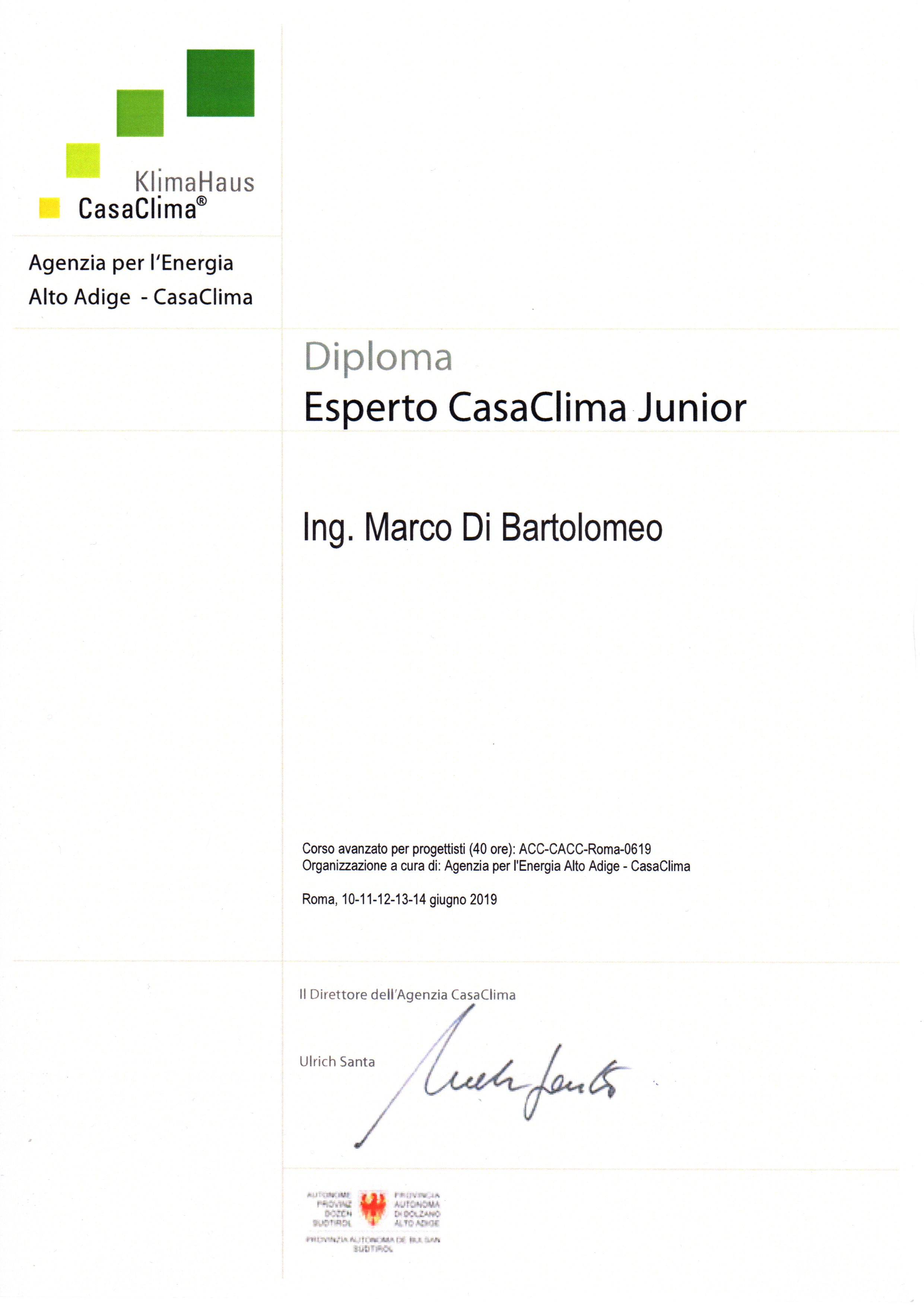 CasaClima Ing Marco Di Bartolomeo Campania Salerno Napoli Avellino Caserta Benevento Consulente progettista progetto