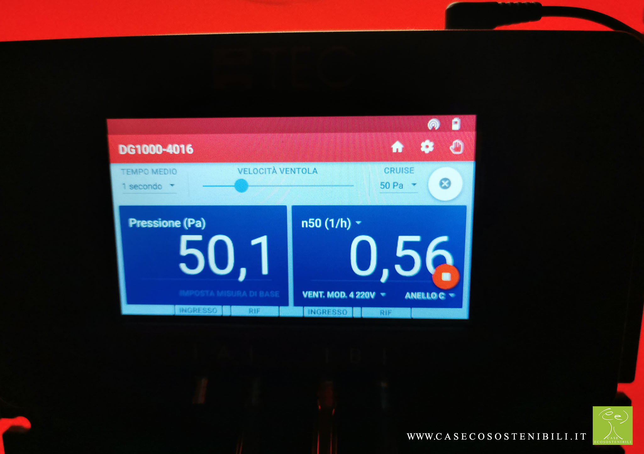 5. Valore Blower Door - Test di Tenuta all'aria Certificazione CasaClima GOLD in Campania Salerno (Napoli Benevento Caserta Avellino)